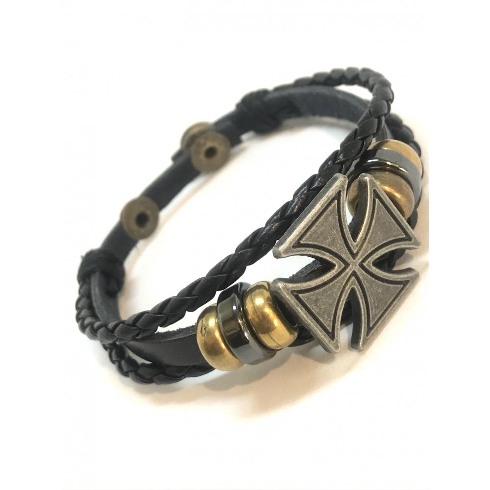 bracelet cuir croix